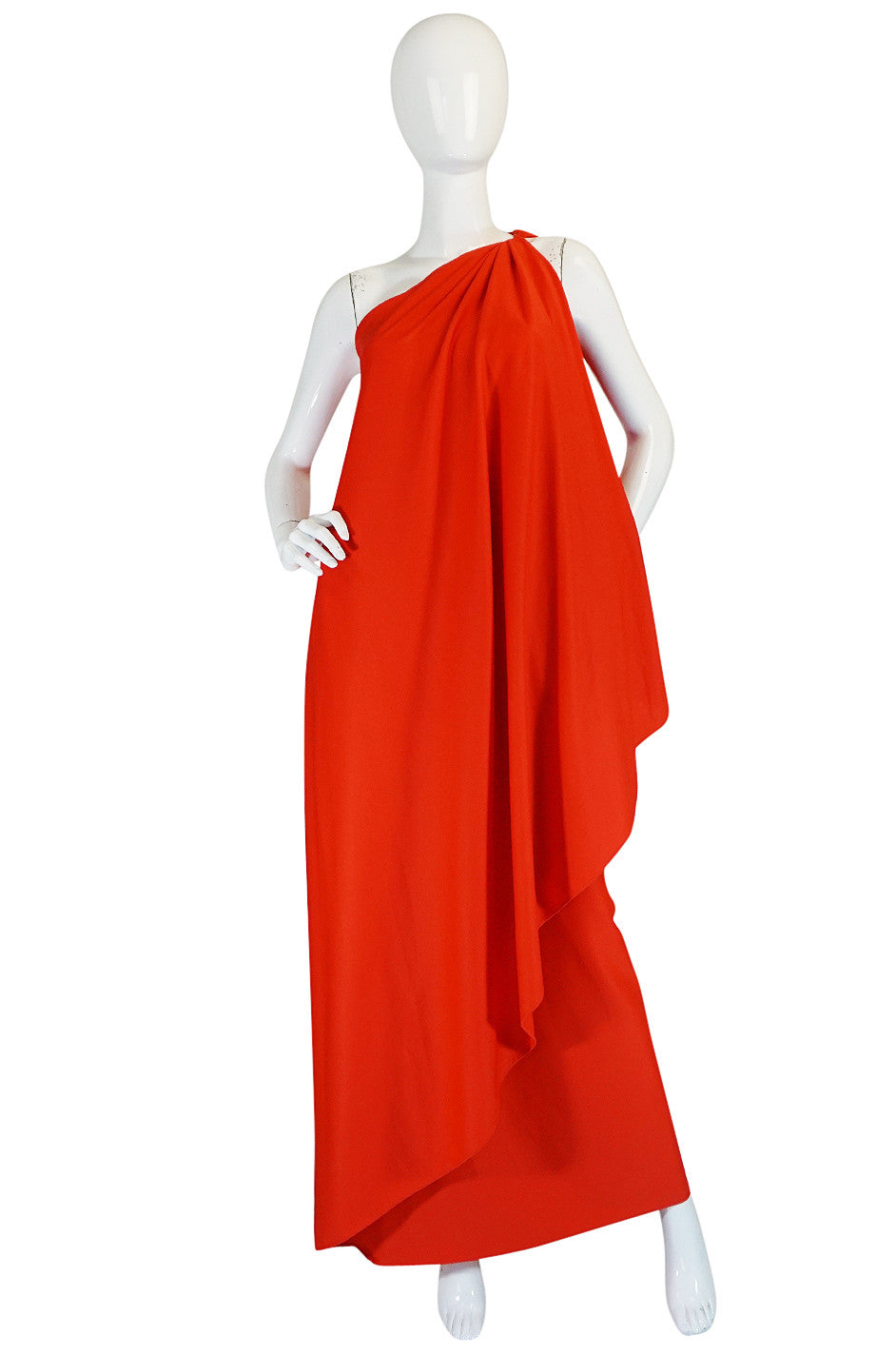 1978 Red Halston One Shoulder Jersey Dress As Seen on Kate Moss ...