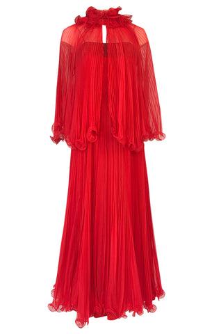 1970s Alfred Bosand Red Chiffon Accordion Pleat Dress & Matching Cape