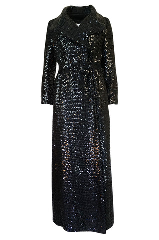 1970s Unlabeled Black Sequin Full Length Trench Style Maxi Coat