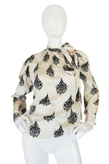 1970s Yves Saint Laurent Cream & Black Print Silk Top