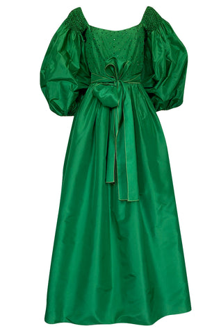 1960s Richiline Emerald Green Silk Dress w Pouf Sleeves & Rhinestone Detail