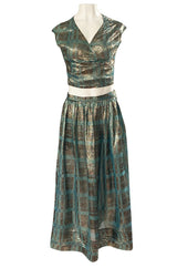 1980s Geoffrey Beene Gold & Turquoise Silk Lame Metallic Skirt & Top Set - 25% OFF TAKEN AT CHECKOUT