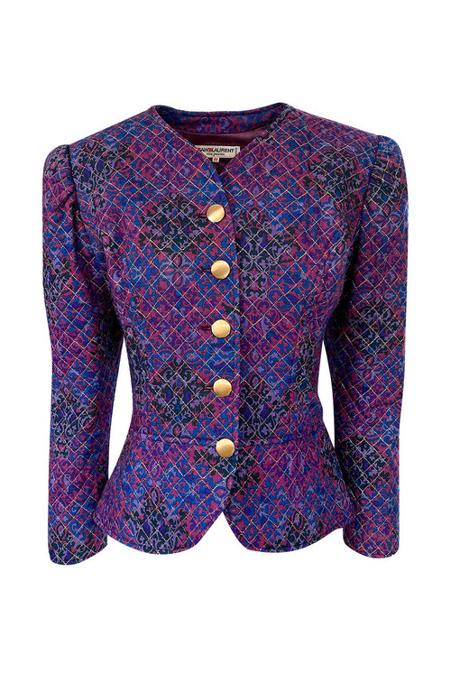 1980s Yves Saint Laurent Gold Metallic Thread Quilted Purple Print Jacket