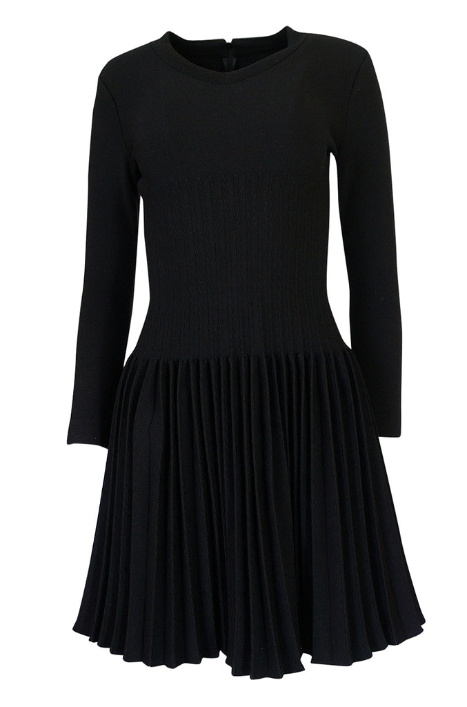 Vintage Azzedine Alaia Stretch Bandage Knit & Pleated Skirt Dress