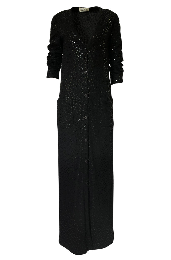 1970s Bill Blass Black Knit Wool Jersey & Silk Sequin Covered Cardigan Dress