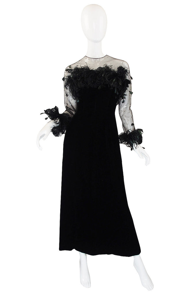 1970s Velvet & Feather Givenchy Gown