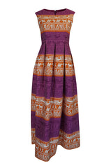 1960s Richard Tam Jon Mandl Unusual Brocade Print Dress