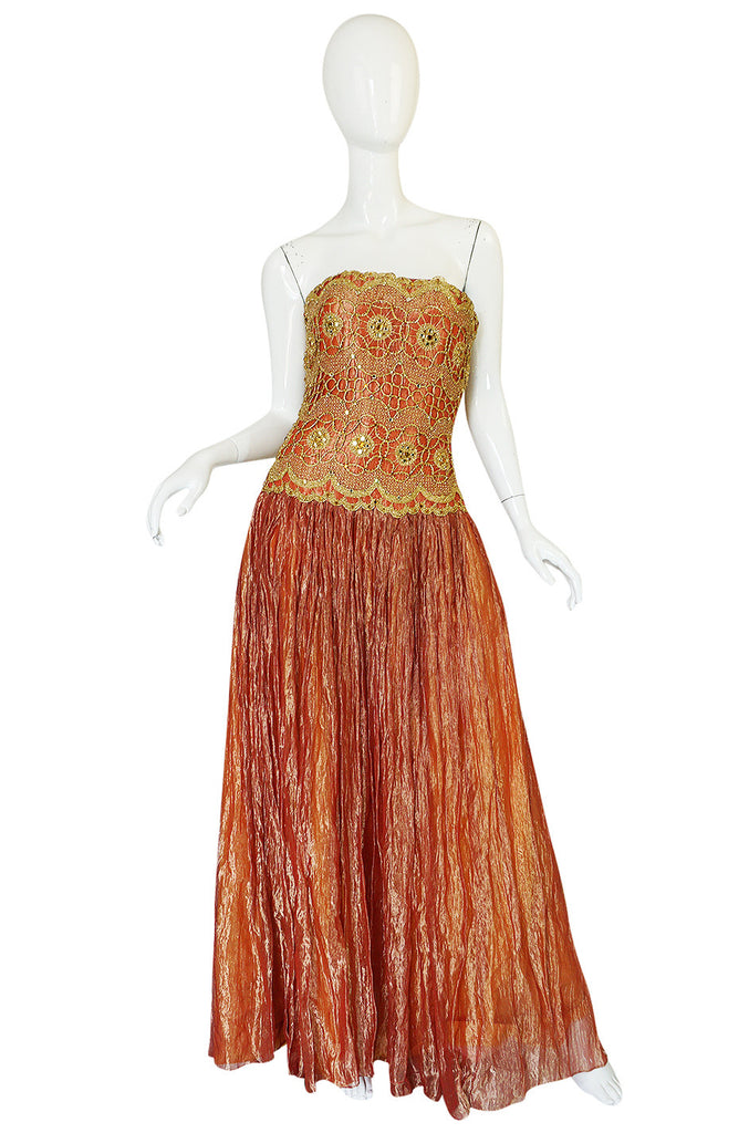 1980s Bob Mackie Beaded & Gold Coral Lame Dress
