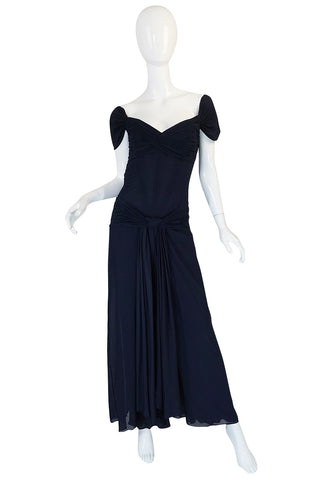 1980s Vicky Tiel Couture Fine Navy Net Draped Corset Dress