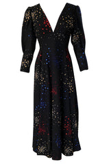 Incredible 1970s Pauline Trigere Hand Painted & Sequin Detailed Dress