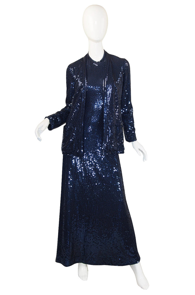 Now On Sale - 1970s Sequin Harold Levine Dress & Jacket