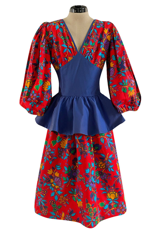 Spring 1983 Yves Saint Laurent Red Floral Print Balloon Sleeve Dress w Corset Waist & Peplum