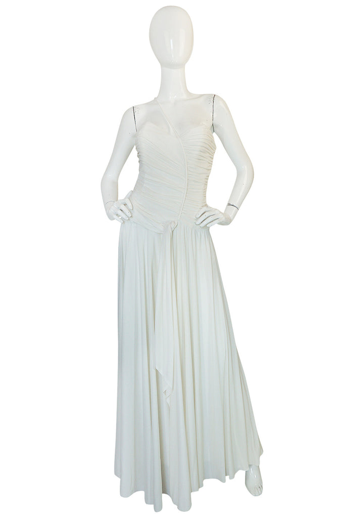 1970s Frank Usher Draped Single Strap White Jersey Dress