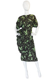 1940s Green & Chocolate Music Print Novelty Swing Dress