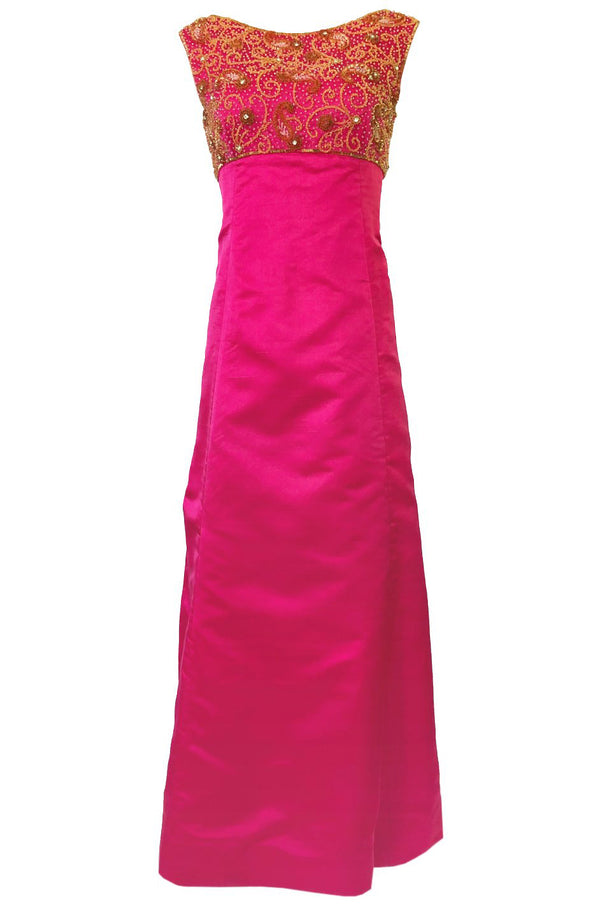 1960s Malcolm Starr Vibrant Pink Silk Satin Dress w Beaded Bodice