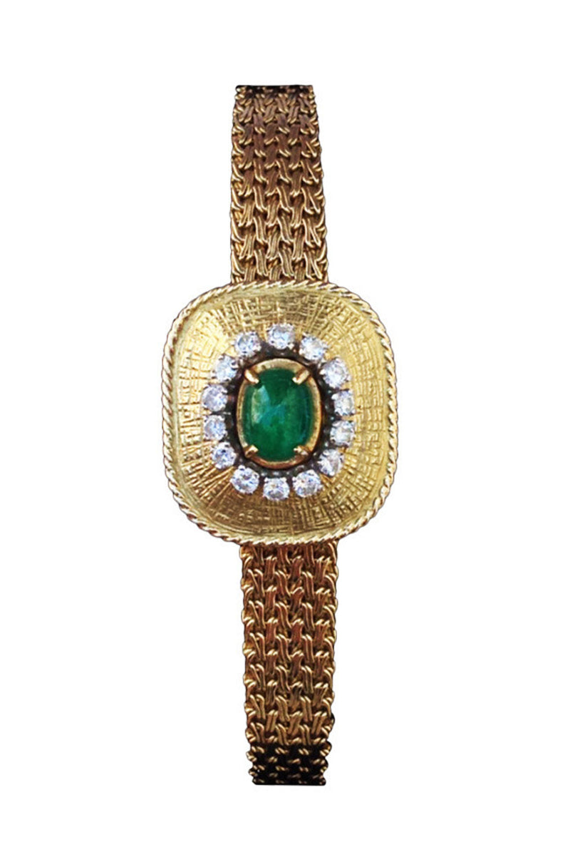 1960s Favre-Leuba Lady's Yellow Gold Diamond and Emerald Bracelet Watch