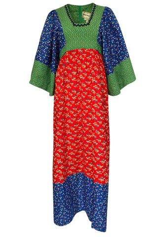1960s Young Innocents by Arpeja Cotton Floral Batik Print Caftan Dress