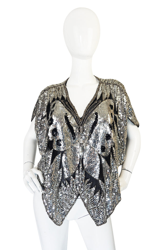 1970s Fabulous Silver Sequin Butterfly Cape or Top