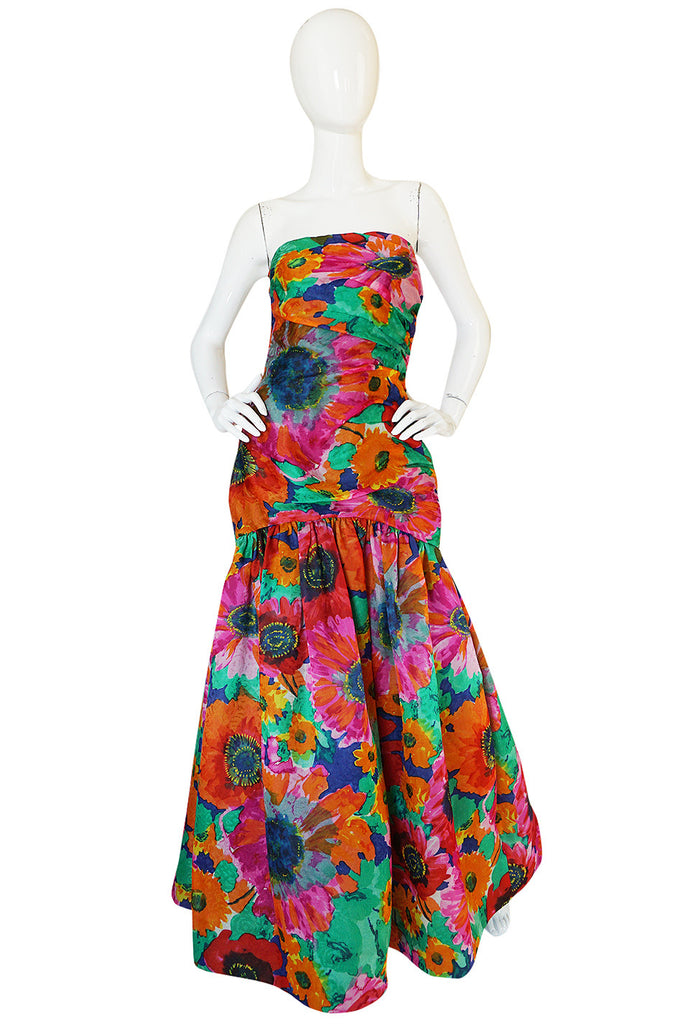 Dated 1986 Exception Scaasi Floral Silk Gazar Gown