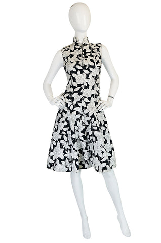 1960s Donald Brooks Black & White Floral Print  Dress