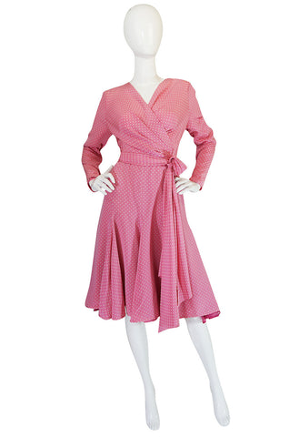 Early 1980s Pink Silk Dotted Valentino Day Dress