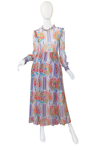 Rare 1970s Silk Chiffon Printed Lanvin Dress