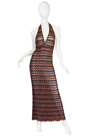 1990s Backless Metallic Knit Missoni Maxi Dress