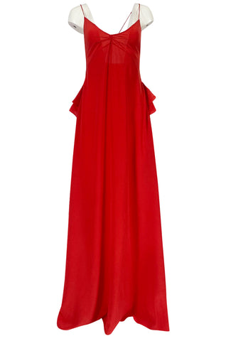 Recent Rochas Red Silk Backless Dress w Ruffle Detail at Low Back