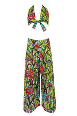 1960s Pucci Rare Printed Cotton Halter Top & Wide Leg Pant Set
