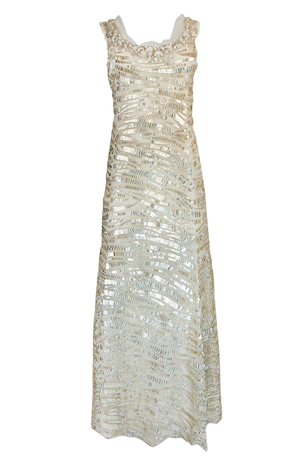 Resort 2008 Oscar de la Renta Runway Muted Gold Paillette & Beaded Dress on Silk Net