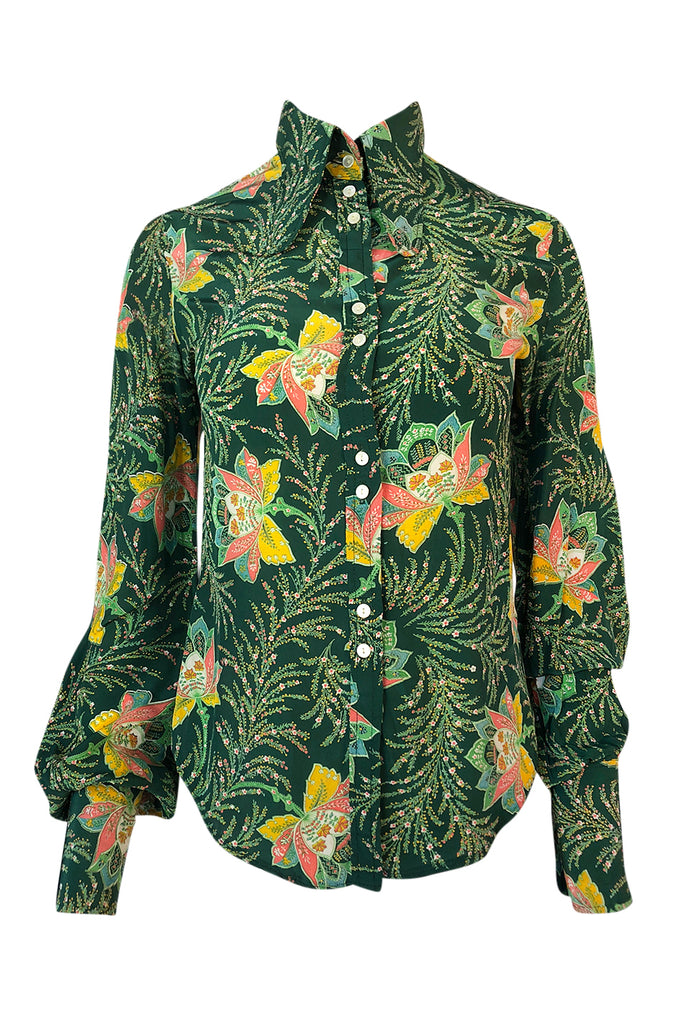 1970s Jeff Banks Green Floral Print Balloon Sleeve Silk Shirt