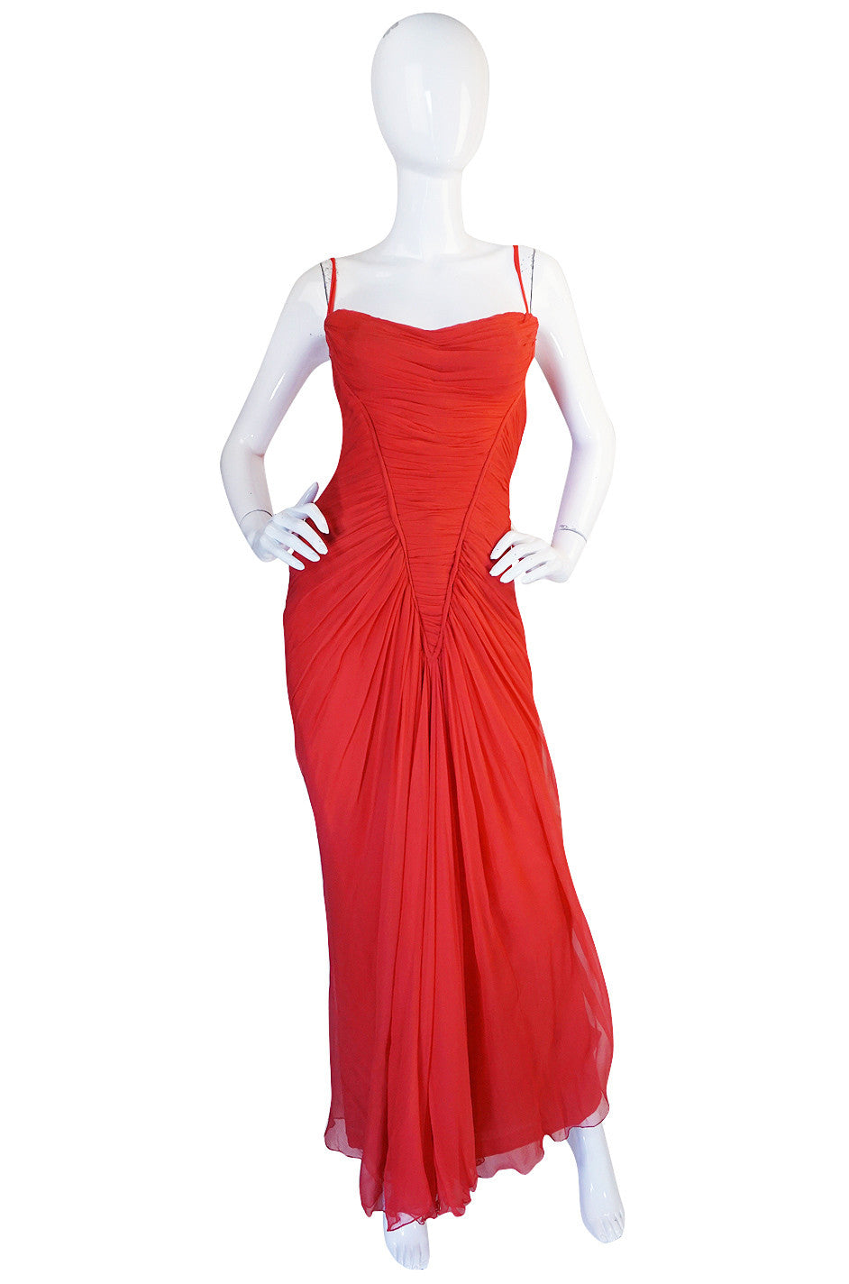 2d27f433fc1 c1959 Haute Couture Maggy Rouff Red Draped Gown