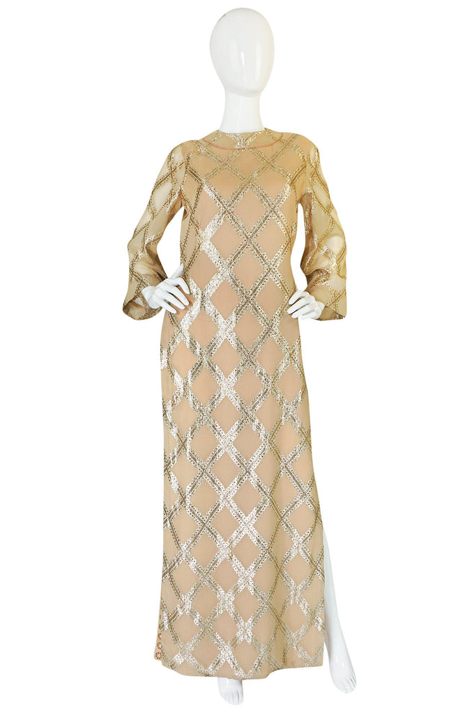 1960s Tina Leser Gold Lame Thread Side Slit Tunic Caftan Dress
