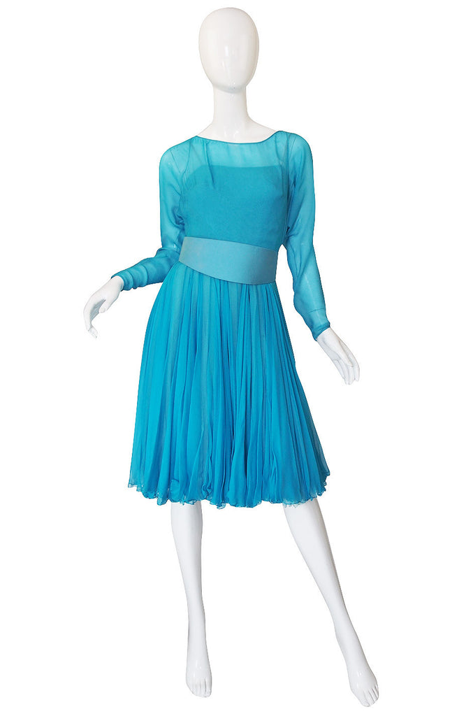 Now On Sale - 1960s Blue Silk Chiffon James Galanos Dress
