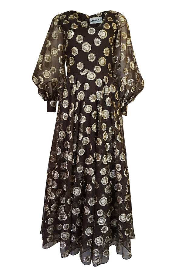 1960s Mr Blackwell Gold Metallic Lurex Dot Organza Dress