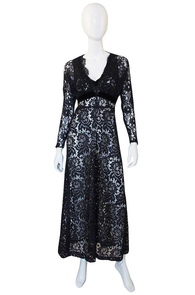 1930s Black Lace Gown & Cropped Jacket