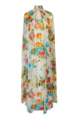 1970s Alfred Bosand Printed Floral Ribbon Silk Gown & Cape