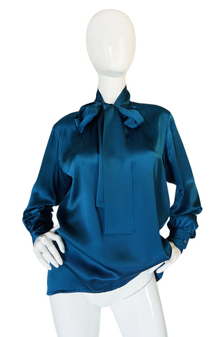 1970s Yves Saint Laurent Rich Deep Teal Blue Silk Top