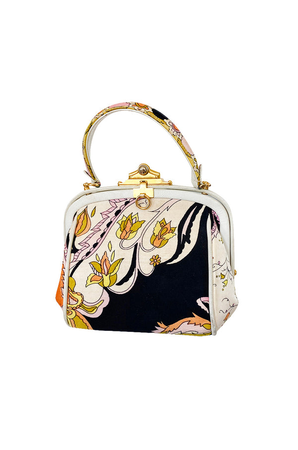 1960s Emilio Pucci Soft Pink Floral Pinted Silk Top Handle Mini Bag - 25% OFF TAKEN AT CHECKOUT