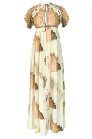 1960s Jean Varon Slit Front Empire Waist Art Deco Print Dress