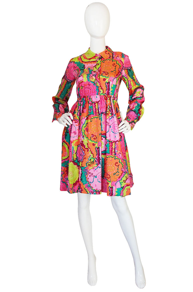 1960s Bright Pink Malcolm Starr Silk Twill Dress