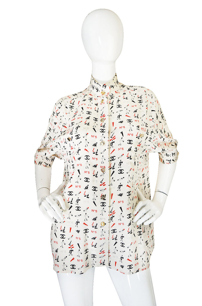 1990s Iconic Chanel No 5 Printed Silk Top