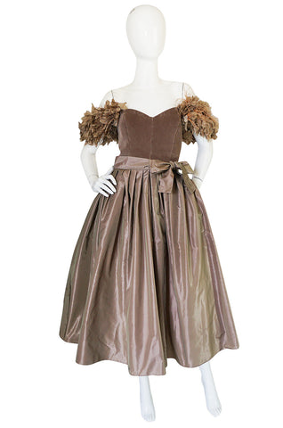 "1970s Victor Costa ""Feathered"" Shoulder Party Dress"
