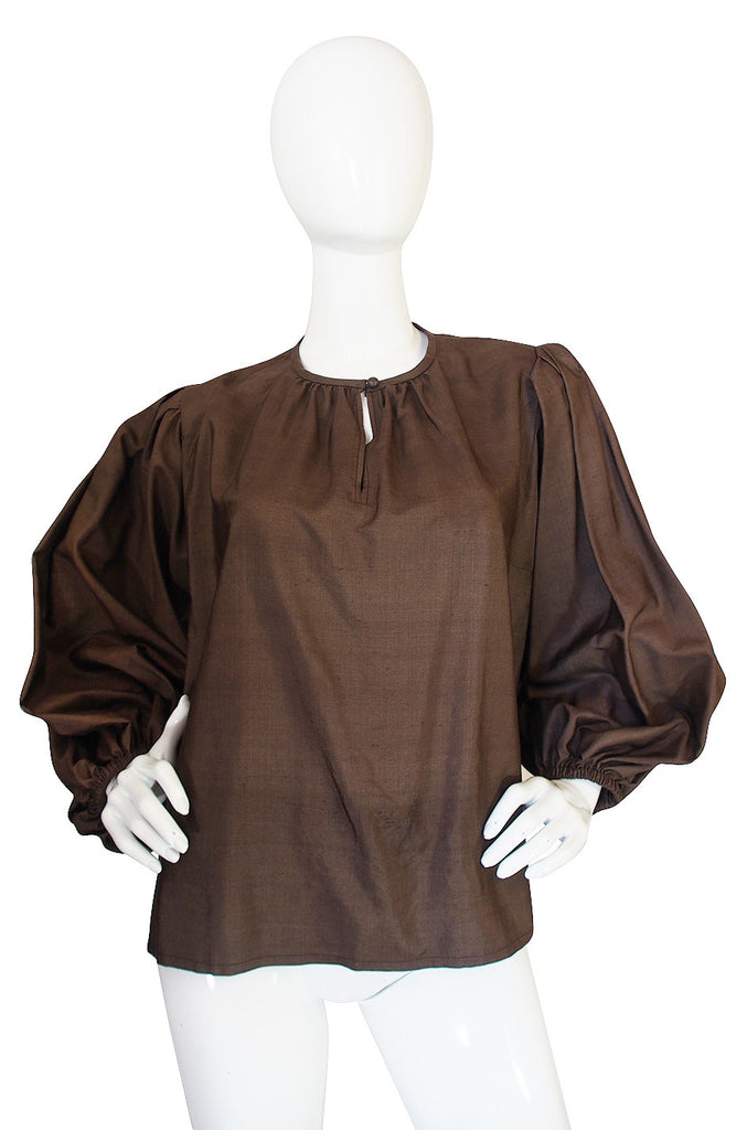 c1977 Voluminous Yves Saint Laurent Russian Silk Top