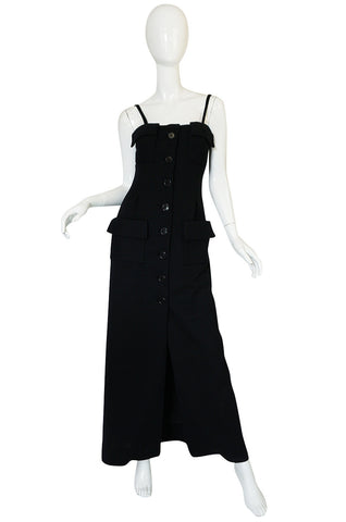 1960s Geoffrey Beene Button Front Black Boutique Dress