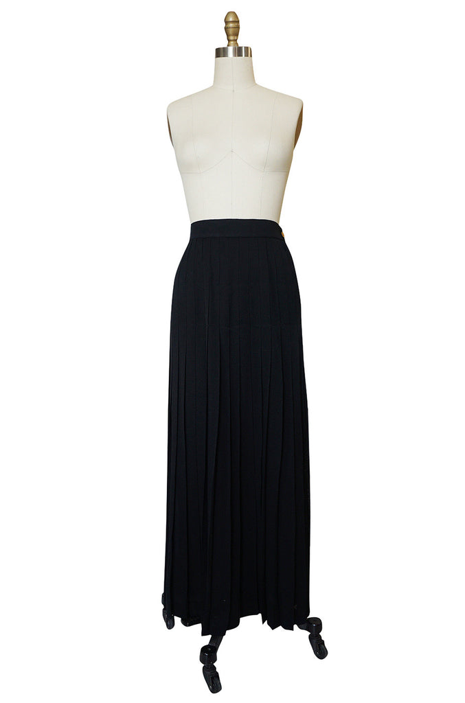1980s Chanel Silk Crepe Pleated Full Length Maxi Skirt