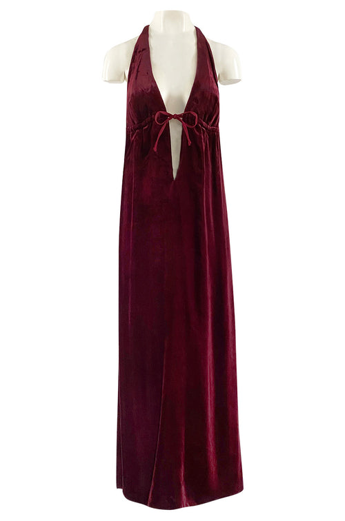 1970s Deep Front Plunge & Racer Back Halter Dress in a Jewel Toned Burgundy Silk Velvet