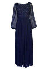 1970s Roberto Capucci Deep Blue Chiffon Dress w Beaded & Pintuck Bodice