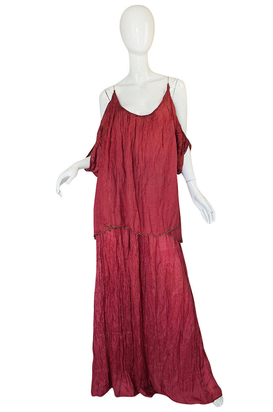 c1907-1920 Mariano Fortuny Pleated Muted Raspberry Silk Gown ...