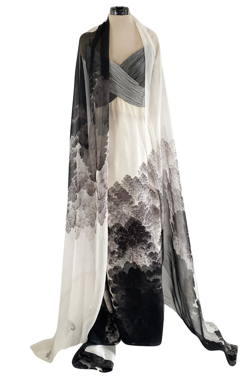Spring 2000 Hanae Mori Haute Couture Forest & Butterfly Print Silk Chiffon Dress & Silk Huge Scarf